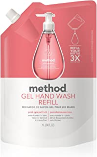 Method Gel Hand Soap Refill, Pink Grapefruit, 34 Fl Oz (Pack of 6)