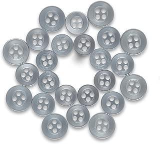 ButtonMode Standard Shirt Buttons 24pc Set Includes 8 Shirt Front Buttons x 11mm (7/16 Inch), 8 Shirt Sleeves x 10mm (3/8 Inch) and 8 Shirt Collar Buttons x 9mm (5/16 Inch), Dark Gray, 24-Buttons