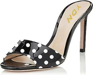 Women Comfy Kitten Low Heel Mules Slip on Clog Sandals Open Toe Dress Pumps Slide Shoes
