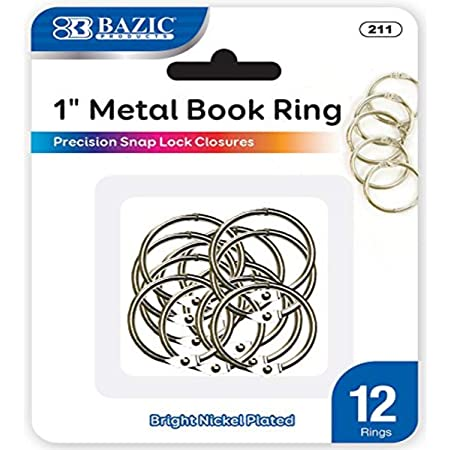 "BAZIC 1"" Metal Book Rings (12/Pack), 1-Pack"