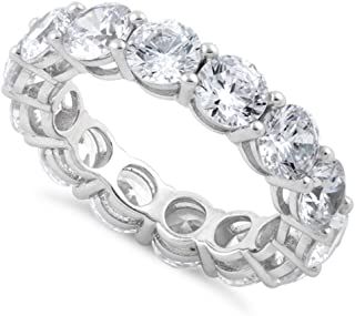 Pure 925 Sterling Silver Band Men Women Bless Double Happiness Eternity Ring