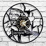 Jacques fresco reloj de pared con disco de vinilo led silueta luminosa registro hecho a mano arte decoración de dormitorio regalo con lámpara led reloj de pared de dibujos animados de 12 pulgadas
