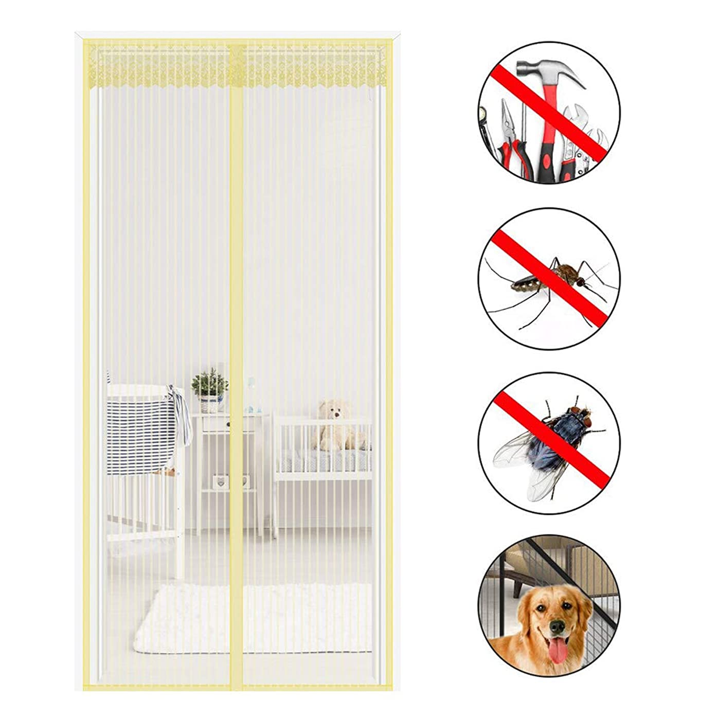 MLECA Automatic Closing Mosquito Patio Screens,for Insect Magnetic Screen Door with Heavy Duty Full Frame Velcro French Double Door Insect Screen Mesh,95220cm