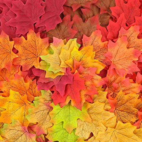 ElaDeco 1000 Pcs Artificial Fall Maple Leaves Fake Autumn Leaf for Thanksgiving Wedding Party Events Indoor Outdoor Wreath Decoration (10 Colors)