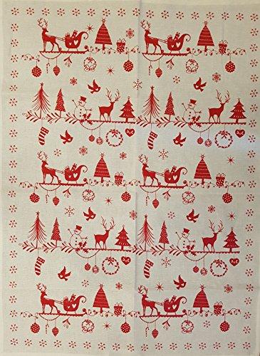 Kracht - Geschirrtuch Weihnachtskutsche - Weihnachten - Halbleinen 50 x 70 cm