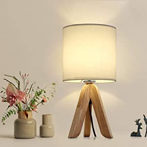 HAITRAL Small Bedside Table Lamp - Wooden Tripod Nightstand Lamp for Bedroom, Living Room, Office, Farmhouse, Home with Fabric Shade, White