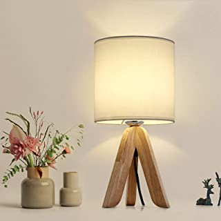 HAITRAL Small Bedside Table Lamp – Wooden Tripod Nightstand Lamp for Bedroom,..