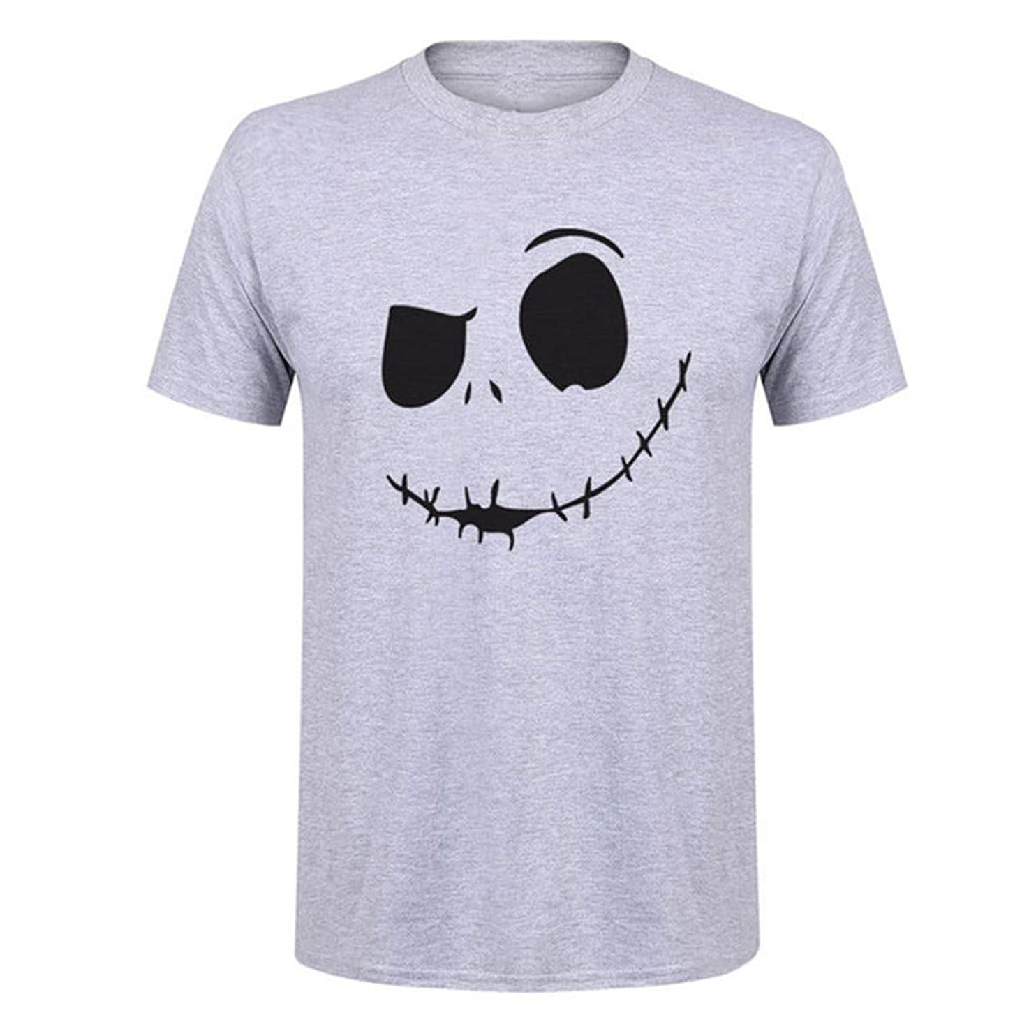 Fxbar T-Shirt,Men's Summer New Evil Smile Face Printed Round-Collar Comfortable T-Shirt Top Simple Blouse