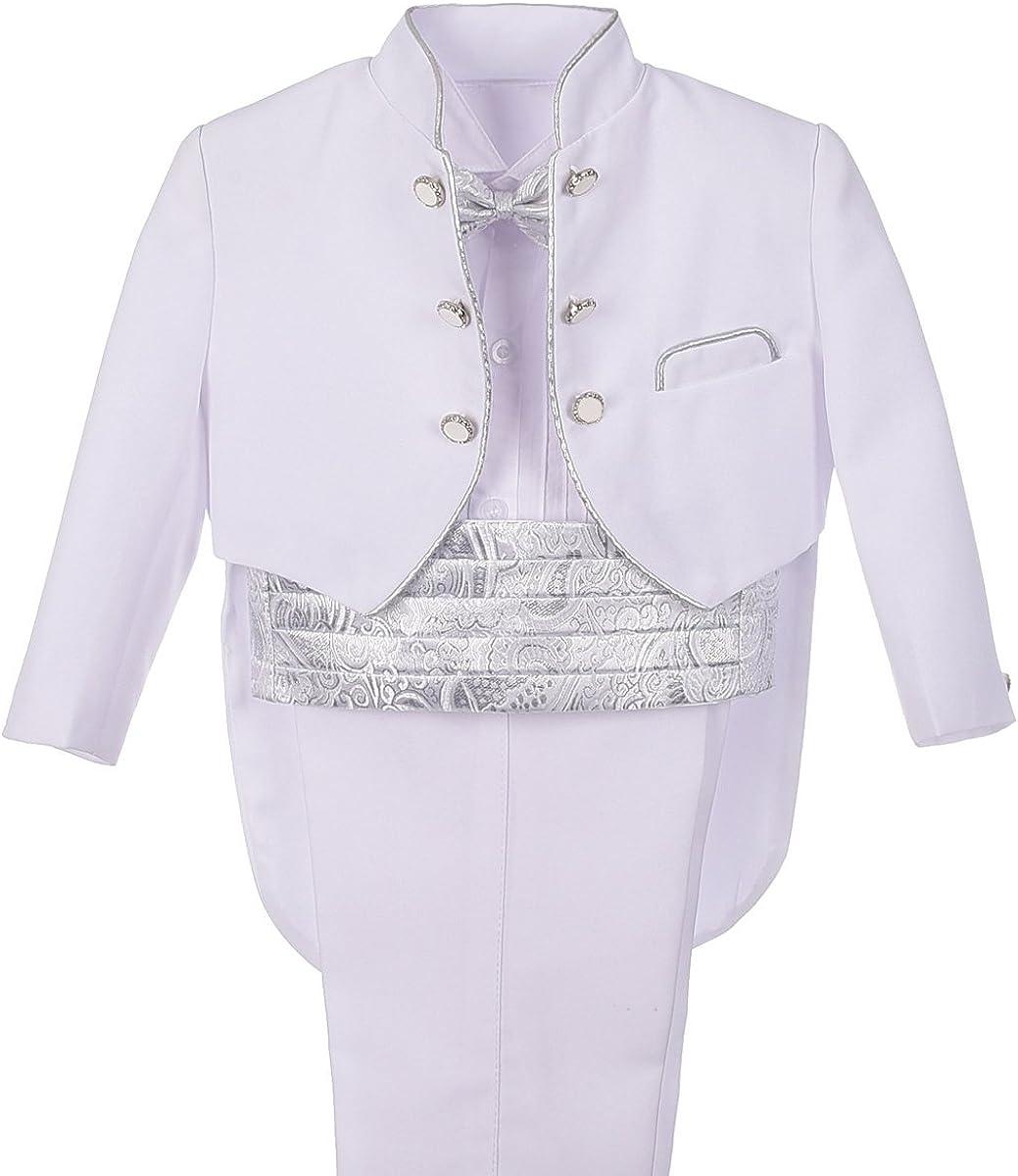 Dressy Daisy Baby Boys' Tuxedo Classic Fit Formal Suits 5 Pcs Set Jacquard Cummerbund