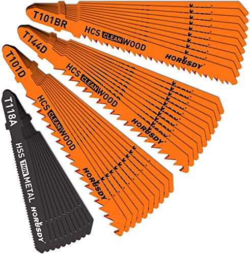 HORUSDY 40-Piece T Shank Jigsaw Blades Set with Storage Case, T-Shank Blades, Blades Assorted for Wood, Thin Sheet Metal Steel, Aluminum Cutting