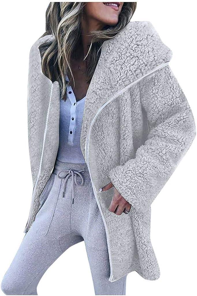 DIOMOR Womens Oversized Wool Lapel Coat Casual Baggy Cardigan Sweaters Thick Warm Furry Overcoat Fleece Jacket