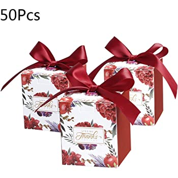 Yanhonin 50 Pcs Rose Cajas para Dulces, Caja De Regalo De Boda ...