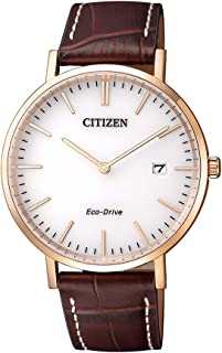 Citizen Men's Solar Powered Wrist watch, Leather Strap analog Display and Leather Strap, AU1083-13A