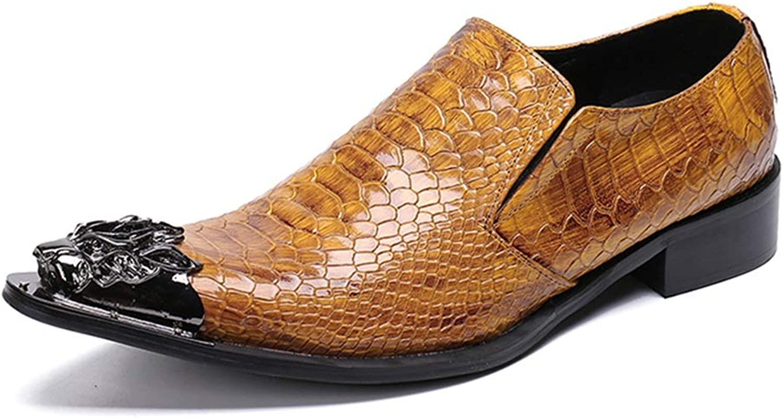 Formal skor läder Springaa Springaa Springaa och Fall Bullock skor mode Dress skor Metallic Toe Point Novelty skor Party och Evening YAN (Färg  A, Storlek  43)  omtänksam service