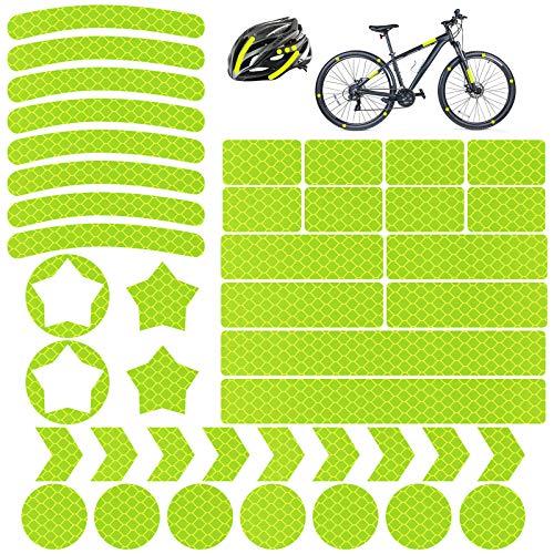 Vegena 42Pcs Pegatinas Reflectantes para Bicicletas, Reflectores Adhesivos Pegatinas Reflectantes Kit Cinta de Seguridad Reflectante para Cochecitos, Bicicletas, Cascos de Motocicleta