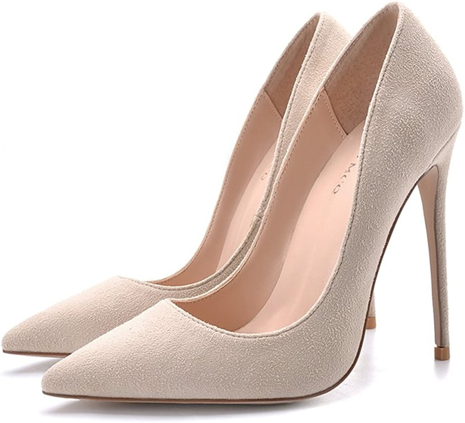 Mesurn High-Heeled shoes Pointed fine with Women's shoes 8cm 10cm 12cm Nude color Sexy Party Wedding shoes Heeled Sandals (color   Height 12cm, Size   36-shoes long230mm)