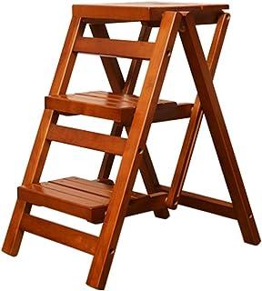Sillas FEI Cómodo Escalera Plegable de Madera Escalera Plegable de Cocina de 3 escalones Escalera de Cocina compacta Antideslizante 2 Colores Fuerte y Durable (Color : Color Miel)