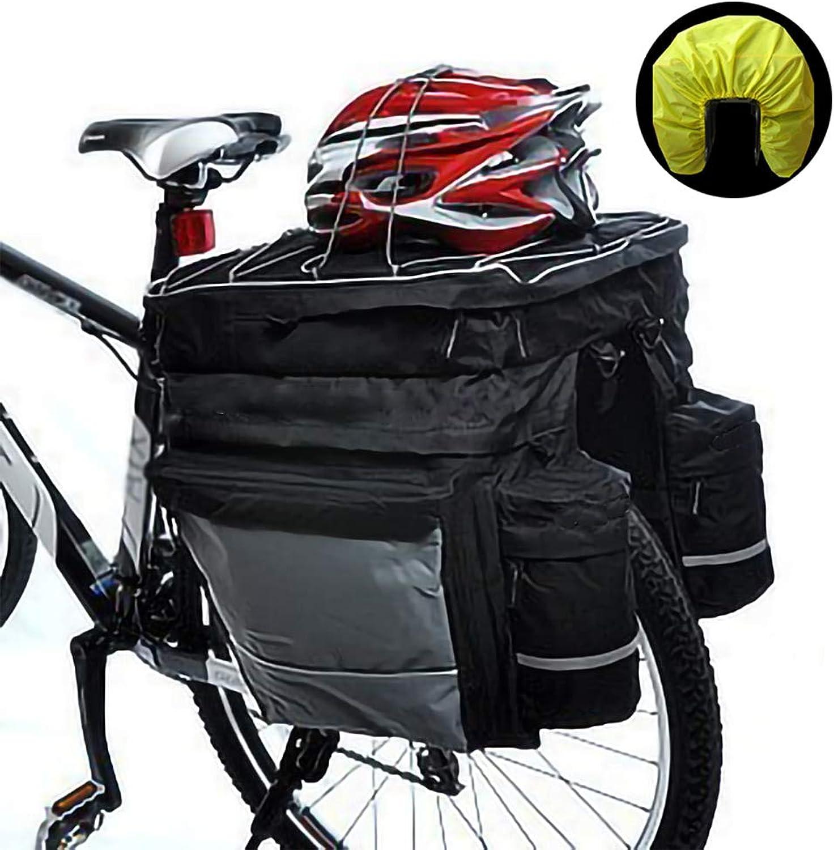 Bike Rear Seat Pannier Bag, Cycling Equipment Bicycle Bag Rear Bag 3in1 Bag Saddle Bag, with Rain Cover, Black
