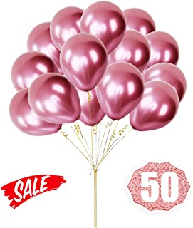 Pink Balloons Chrome Shiny Metallic Latex 12 Inch Thicken Balloons 50 Pack for Wedding Party Baby Shower Christmas Birthday Carnival Party Decoration Supplies