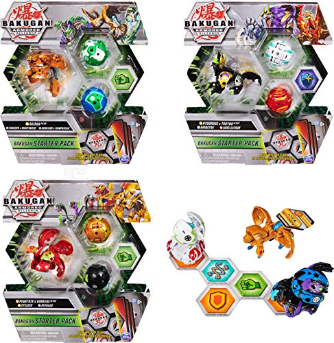 Bakugan Starter Pack 3-Pack Armored Alliance Collectible Action Figures (Styles Vary)