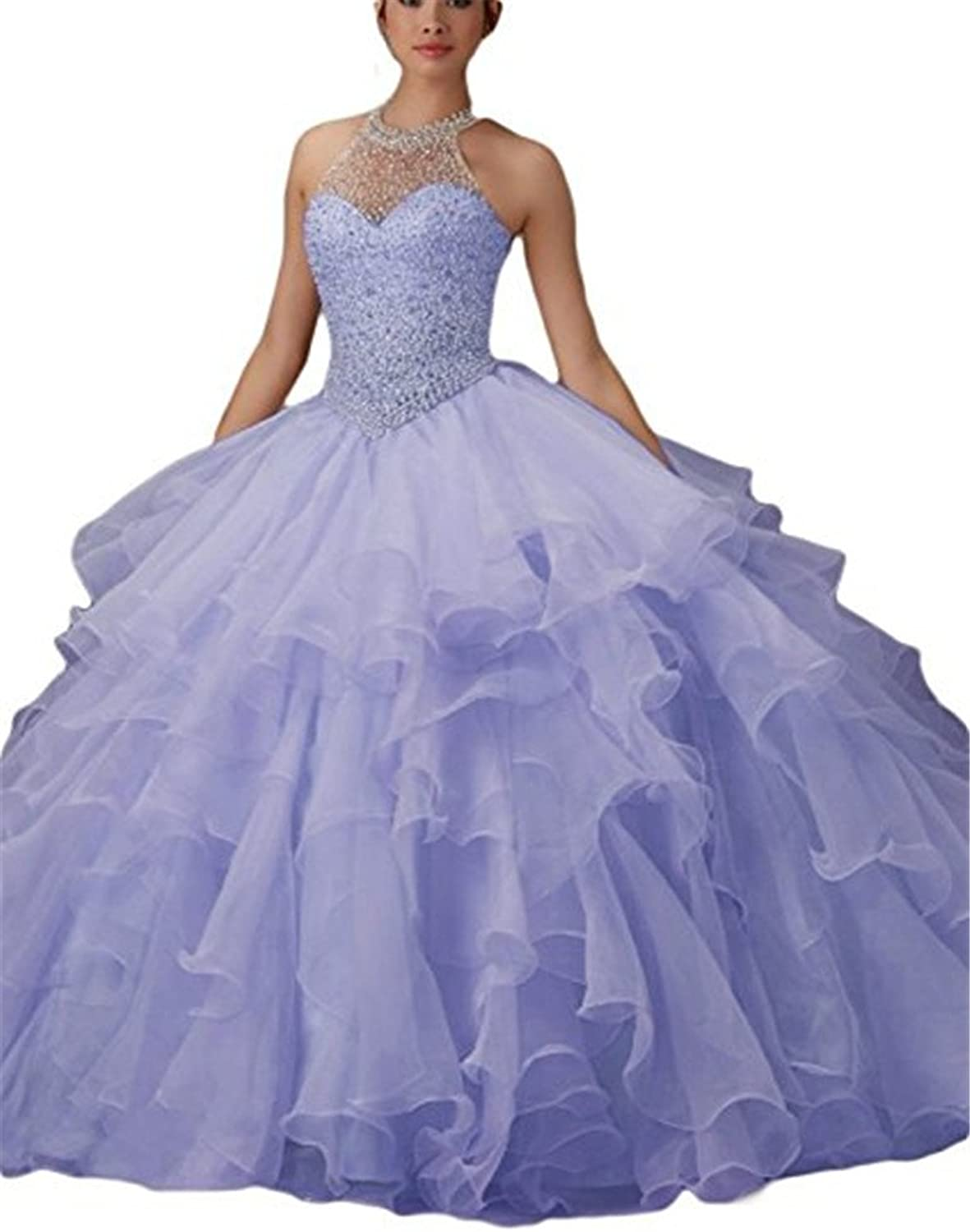 XSWPL Gorgeous Halter Heavy Beaded Organza Quinceanera Dresses for Sweet 16 Ball