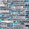 Home Building Glass Tile Kitchen Backsplash Idea Bath Shower Wall Decor Teal Blue Gray Wave Marble Interlocking Pattern Art Mosaics TSTMGT002 (1 Sample 4 x 12 Inches)