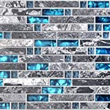 Home Building Glass Tile Kitchen Backsplash Idea Bath Shower Wall Decor Teal Blue Gray Wave Marble Interlocking Pattern Art Mosaics TSTMGT002 (1 Sample 4 x 12 Inches)