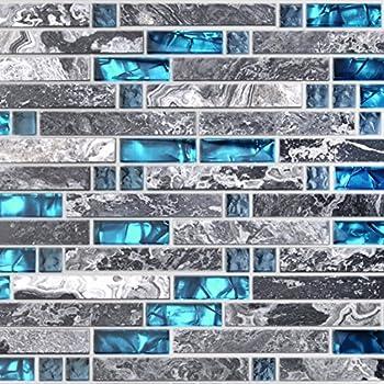 Home Building Glass Tile Kitchen Backsplash Idea Bath Shower Wall Decor Teal Blue Gray Wave Marble Interlocking Pattern Art Mosaics TSTMGT002  1 Sample 4 x 12 Inches
