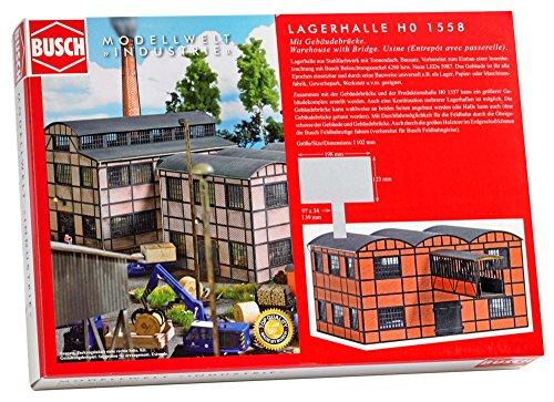 Busch 1558 – Usine bâtiment Entrepôt avec bâtiment Pont, véhicule