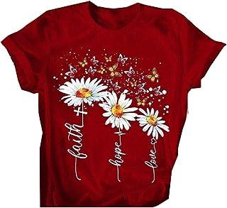RkYAO Women's Floral Printed Short-Sleeve Blouse Summer Modal Cotton Tees