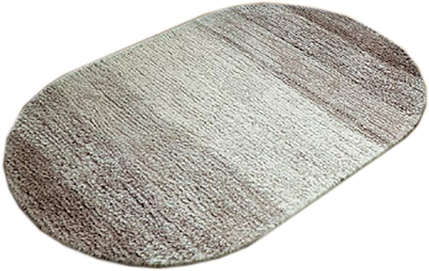 Door mat,Entrance Door mats Super Soft Rug Elliptical Door mat Bathroom Non-Slip mat- Light Brown 50x80cm(20x31inch)