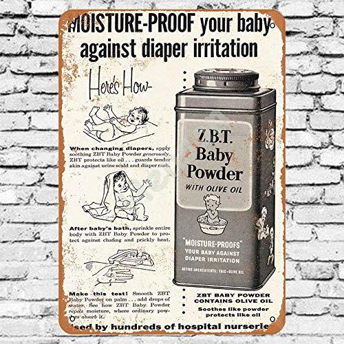 No/Brand 1958 Z.B.T Baby Powder Cartel de Chapa Metal Advertencia Placa de Chapa de Hierro Retro Cartel Vintage para Dormitorio Pared Familiar Aluminio Arte Decoración