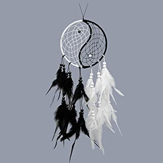 Small Traditional Dreamcatcher Handmade Mobile Dreamcatchers Native American Dream Catchers Rings Feathers Decorations Home Wall Outdoor Car Ornament Hangings Gifts for Girls Boys Kids – White Black