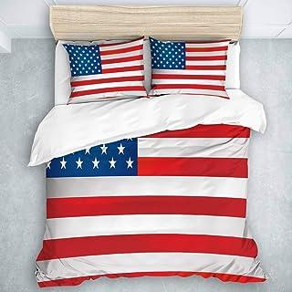 Yoyon Juego de Funda nórdica de 3 Piezas, Bandera de EE. UU, Juego de Colcha para Adolescentes, niños, niños