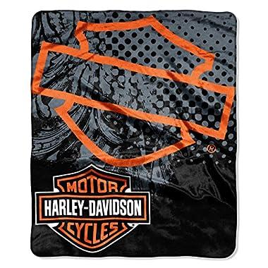 Harley-Davidson Road Rash Raschel Throw Blanket, Black & Orange NW047105