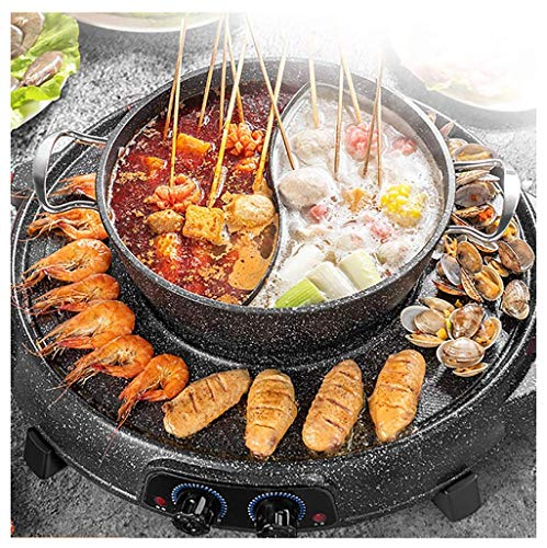 Kyman Elektrogrill, beweglicher Multifunktions Hot Pot, elektrische Barbecue Grill Innen Chafing Dish, Temperatur Indoor Teppanyaki Grill/Shabu Shabu-Topf mit Divider-Separate Doppel Contral