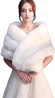 VAILANG Donna Bianco Pelliccia Sintetica Involucro Nuziale Stola Scialle Cape Matrimonio Artificiale Perla Pallina Abbellimento Giacca Invernale Cappotto Coprispalle