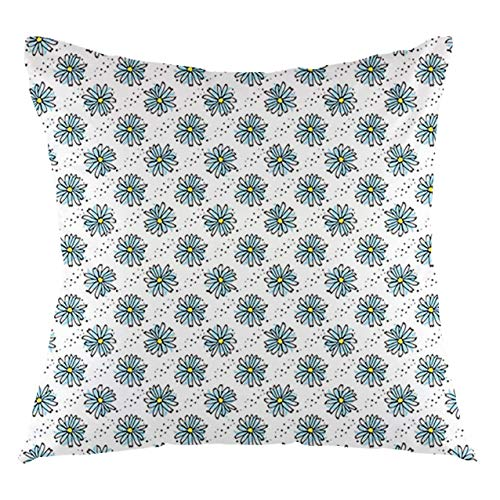FULIYA Daisy Throw Pillow Cushion Cover Picturesque of a Bouquet on a Wooden Table Decorative Square Accent Pillow Case, 18' X 18',Pale Blue Green