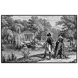 Vintage Soft Fluffy Bedroom Rugs Historical French Revolution Sketch with Napoleon and Woman in Garden Artwork for Kids Baby Room Bedroom Nursery Dark Grey Black 6.5 x 9.8 Ft
