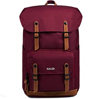 KALIDI - Mochila para Estudiantes de Mujer y Hombre, Estilo Retro, con Compartimento Acolchado para portátil de 15 Pulgadas, Resistente al Agua, para Viajes de Larga duración (Vino Tinto)
