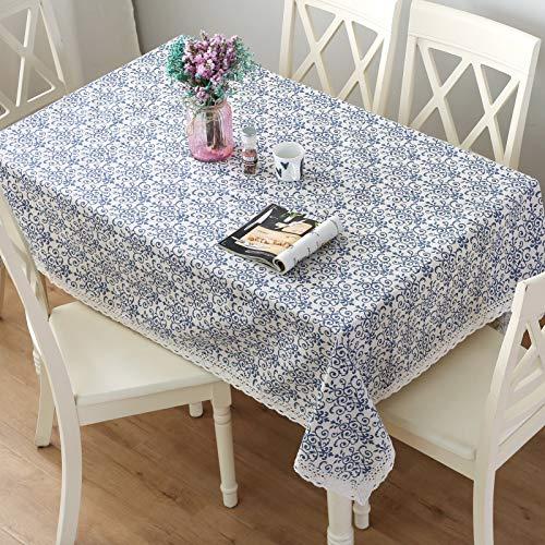 Aonewoe Jahrgang Quadrat Tischdecke, alltägliche Küchentischdecke für den Innenbereich dekorative Makramee aus Spitze Tischdecke Marineblau Jacquard Damast Design (140x140cm)