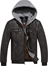 Wantdo Men's Faux Leather Jacket PU Leather Moto Jacket with Removable Hood
