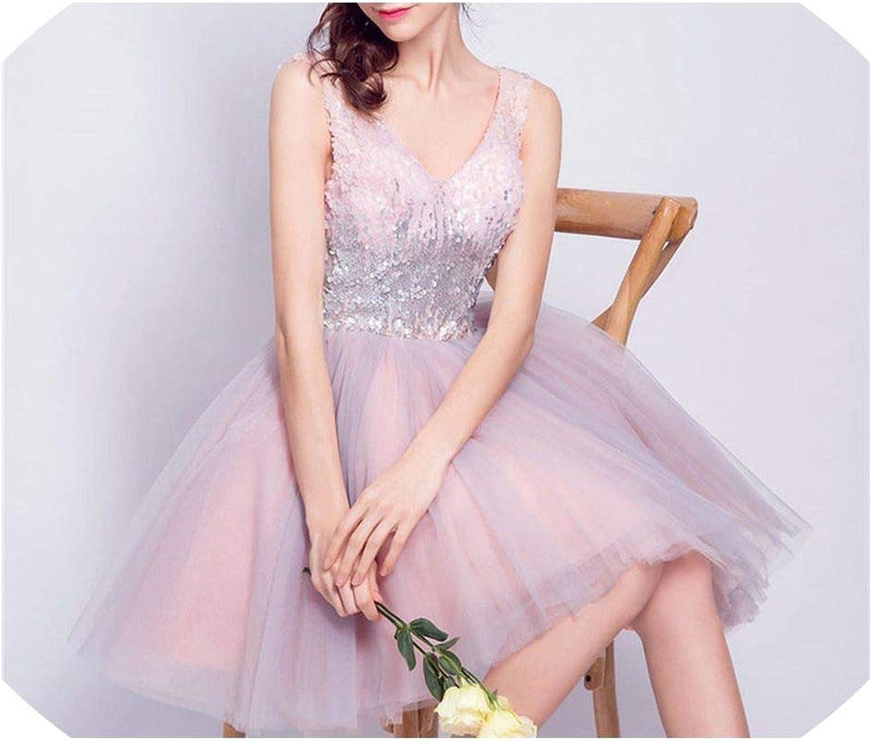 YPfashion Pink Bling Dresses Sequins Tulle Short Dress VNeck
