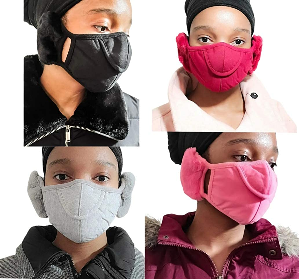 Unisex Warm Plush Face Mask with Adjustable Earmuffs, Soft Windproof Winter Full Ear Cover for Outdoor Activities