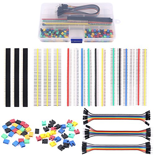 Glarks 248Pcs 40 Pin Breakaway Pin Headers and 2.54mm Circuit Board Jumper Caps with Breadboard Jumper Wire Ribbon Cables Connectors Assortment Set for Electronic Technology Arduino DIY