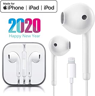 Earbuds Headphone Wired Earphones Headset with Microphone and Volume Control, Compatible with iPhone 11 Pro Max/Xs Max/XR/X/7/8 Plus Plug and Play Carrier Cell Phones (White)