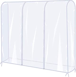 Garment Rack Cover, U-HOOME Transparent Clothes Rail Cover, Garment Coat Hanger Protector Clothing Storage for Dresses, Su...