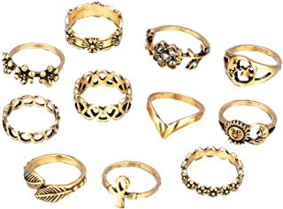 Vintage Retro Rings Hollow Carved Flowers Joint Knuckle Rings Sets