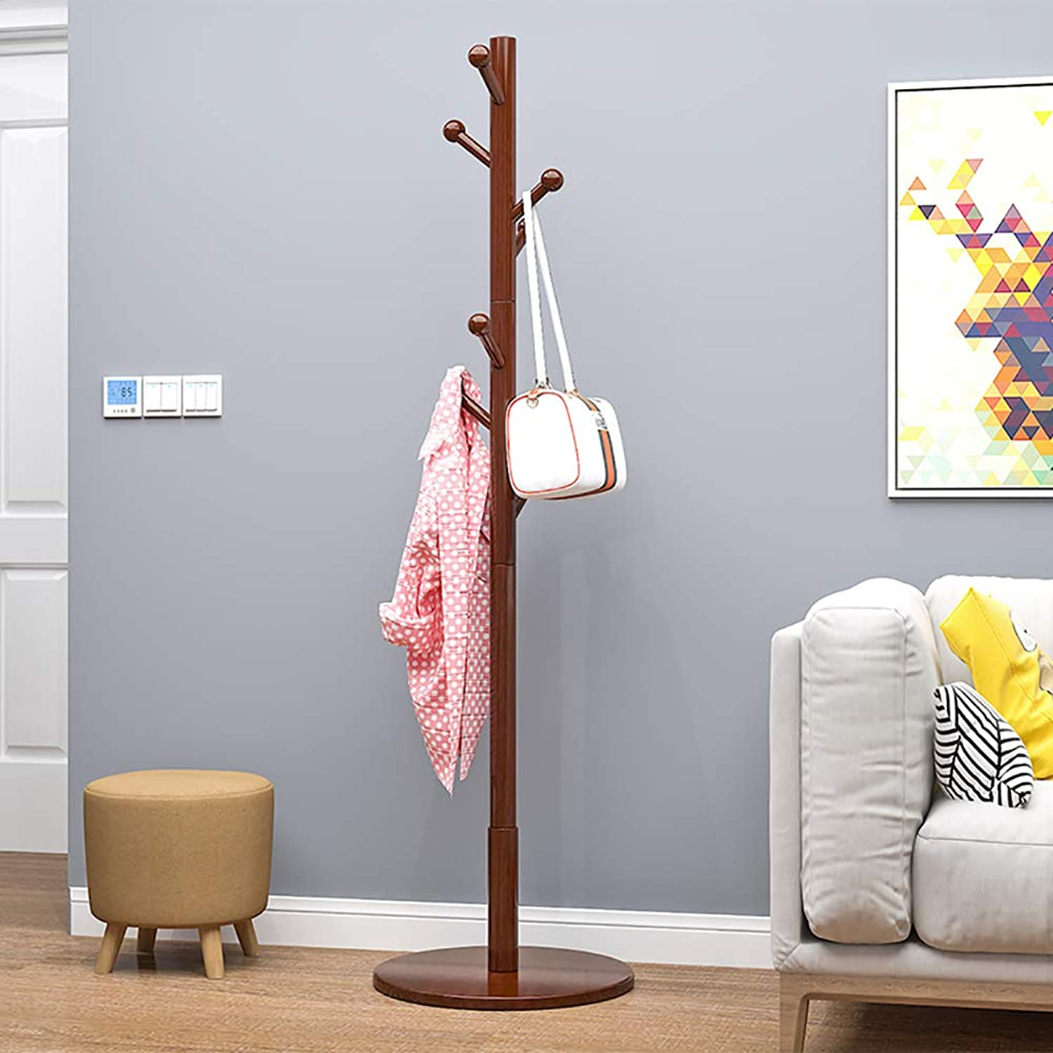 KTOL Multifunction Coat Hall Tree Free Standing, Modern Simple Coat Rack 8 Hooks Stable Floor Coat hat Holder for Office Hat Hanger Entryway-Brown Round Base
