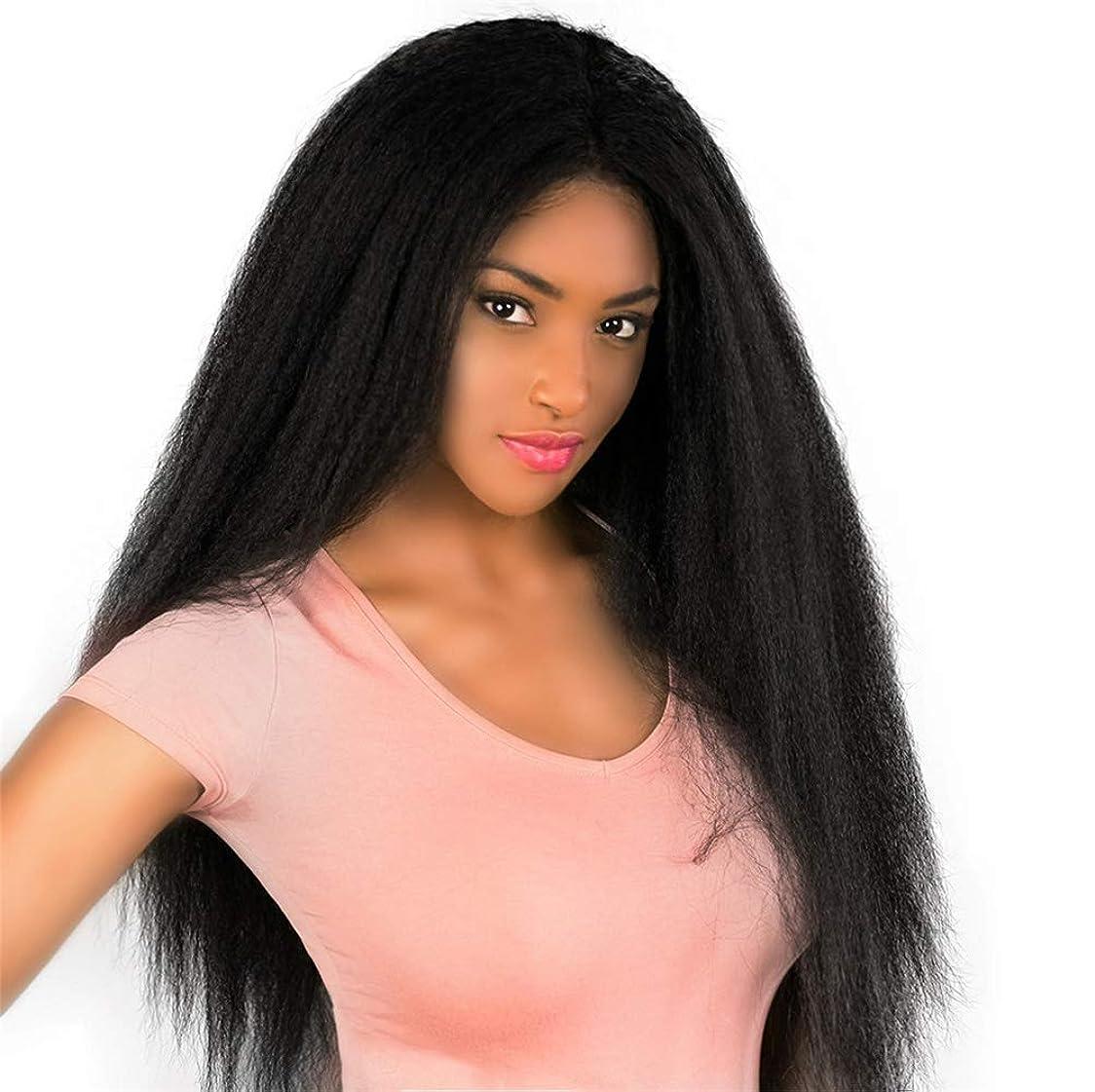 保険をかける朝の体操をする宣言女性自然なロングボブの髪ストレートかつら人工毛ウィッグブラック26インチ